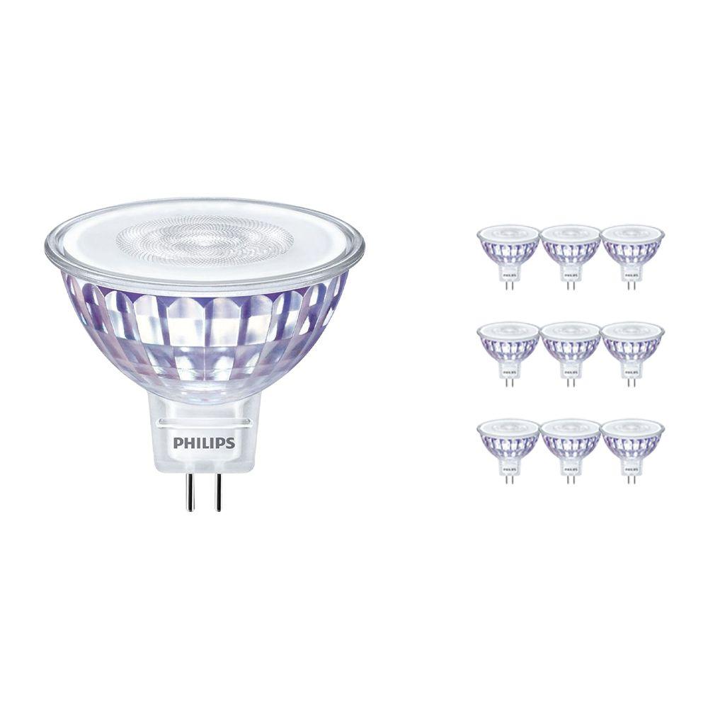 Fordelspakke 10x Philips LEDspot LV Value GU5.3 MR16 5.5W 830 60D (MASTER) | varm hvid - dæmpbar - erstatter 35W