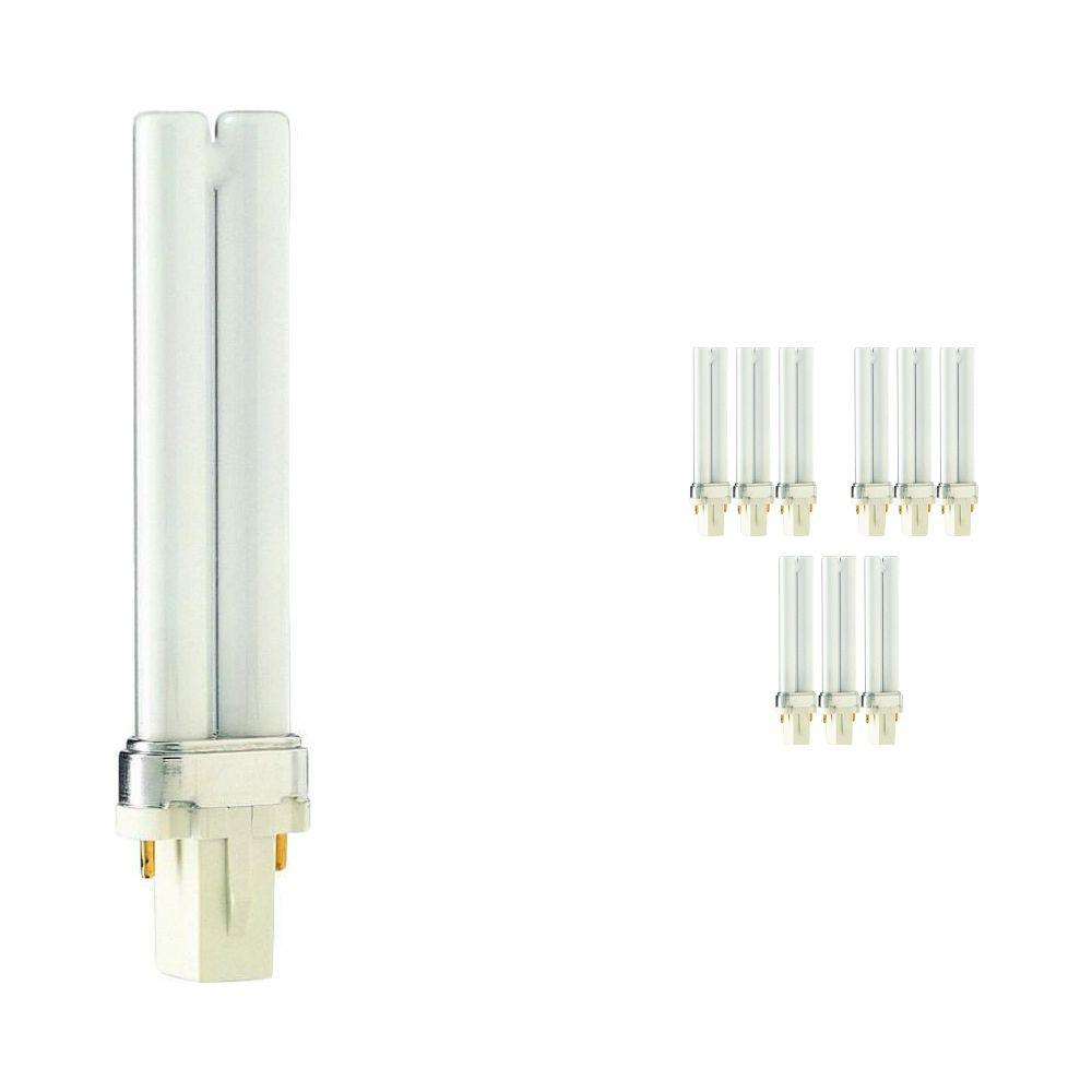Fordelspakke 10x Philips PL-S 7W 830 2P (MASTER)   varm hvid - 2-pinde