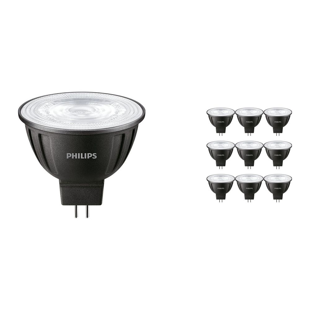 Fordelspakke 10x Philips LEDspot LV GU5.3 MR16 8W 830 24D (MASTER)   varm hvid - dæmpbar - erstatter 50W
