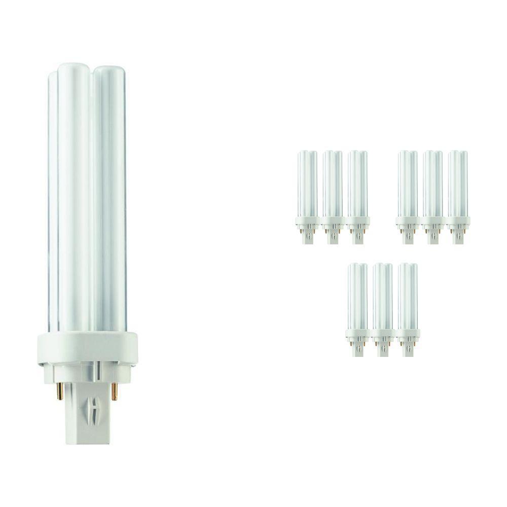 Fordelspakke 10x Philips PL-C 13W 827 2P (MASTER) | ekstra varm hvid - 2-pinde
