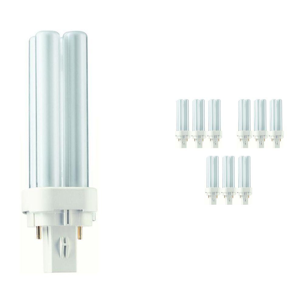 Fordelspakke 10x Philips PL-C 10W 830 2P (MASTER)   varm hvid - 2-pinde
