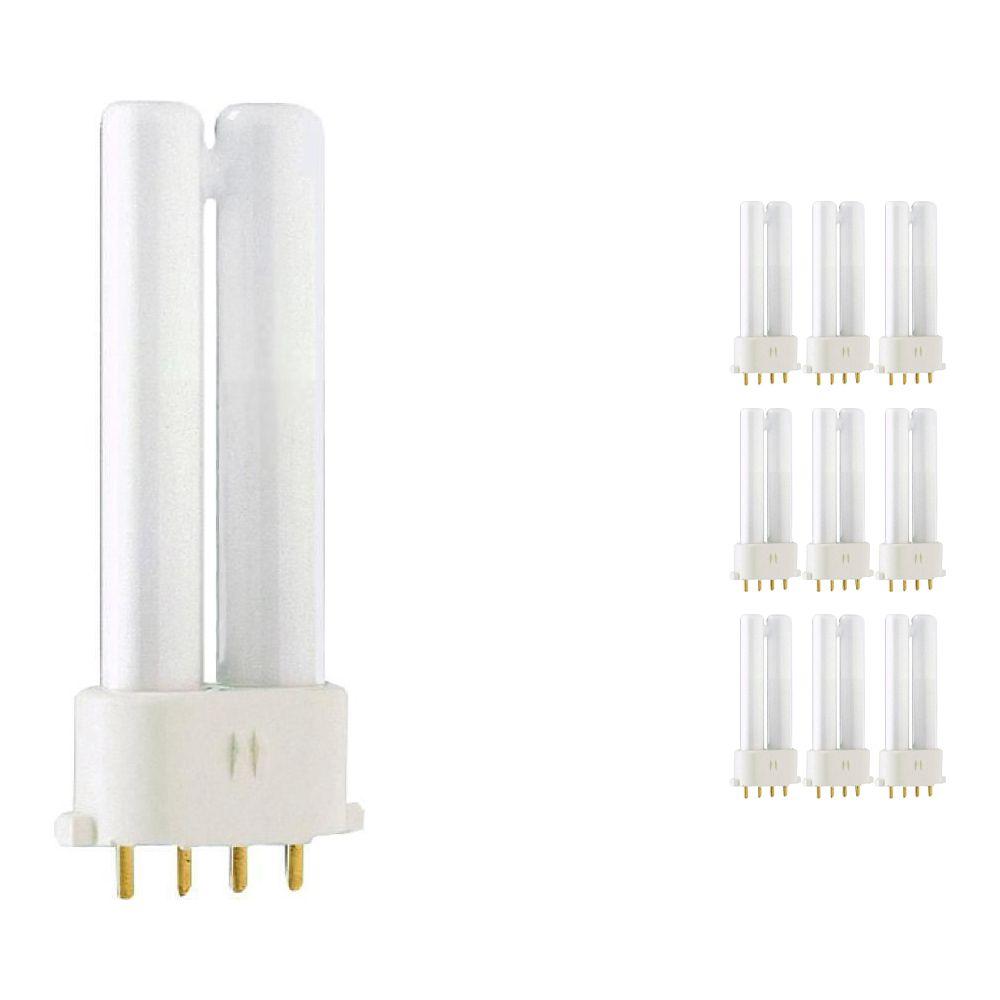 Fordelspakke 10x Philips PL-S 5W 840 4P (MASTER) | kold hvid - 4-pinde