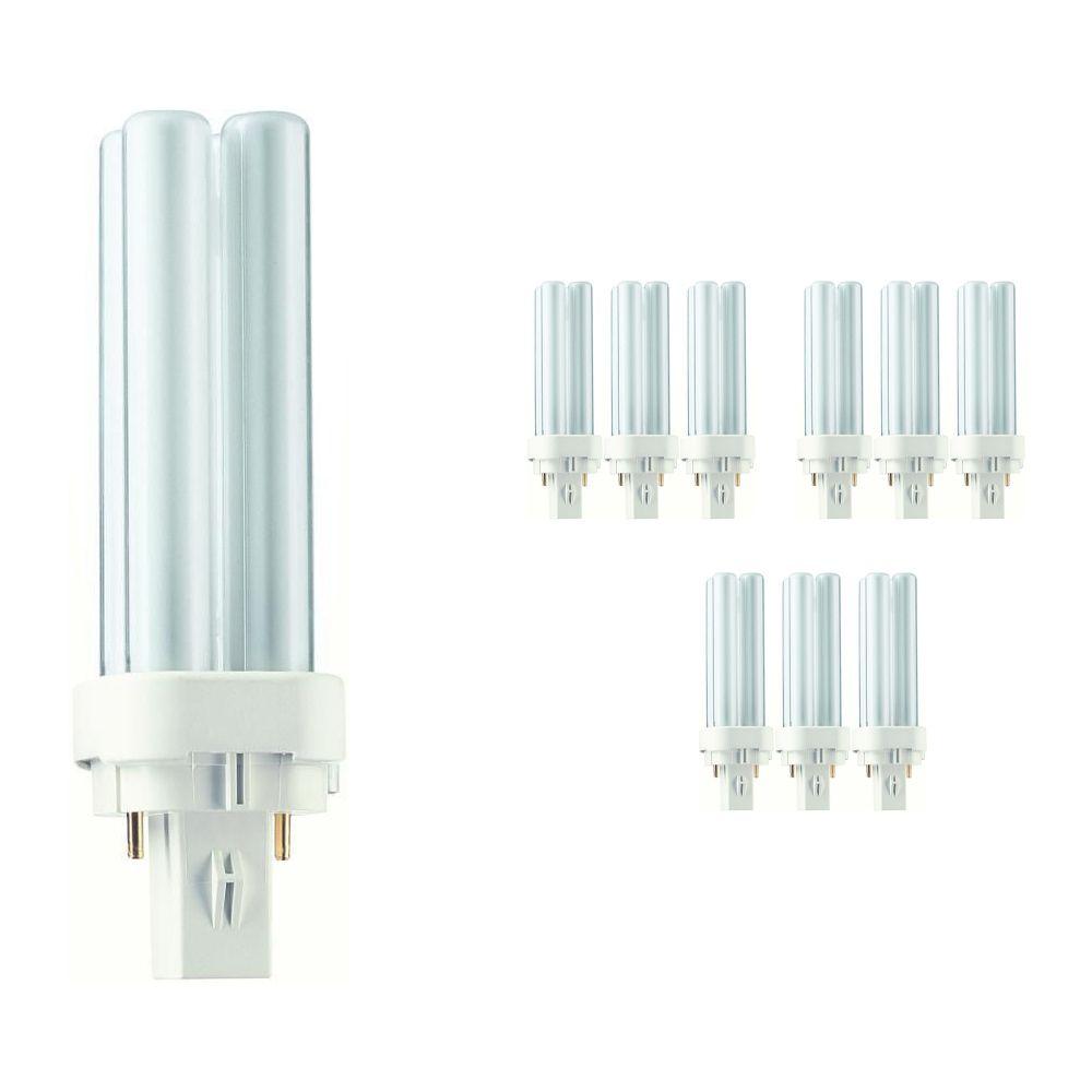 Fordelspakke 10x Philips PL-C 10W 827 2P (MASTER) | ekstra varm hvid - 2-pinde
