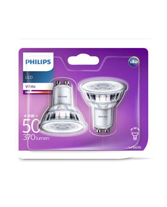 2x Philips LEDspot GU10 PAR16ND 4.6W 830 370lm (Classic) | varm hvid - erstatter 50W